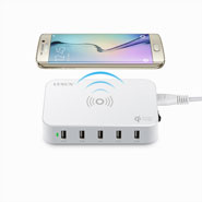 Qi Wireless USB Charger 60W with 5 USB Port for Samsung Galaxy S7 / Edge, Note 5, Nexus LS-5UW
